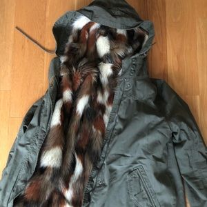 American Eagle Army Jacket, removable fur vest